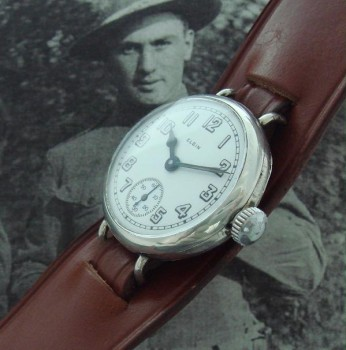 Men's 1919 Elgin Silver Trench Wrist Watch