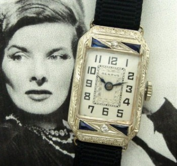 Ladies' 1925 Benrus 14k White Gold, Diamonds & Sapphires Wristwatch