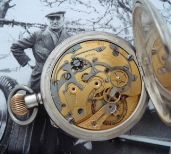 Men's 1927 Lemania Chronograph Pocket Watch in Sterling Silver