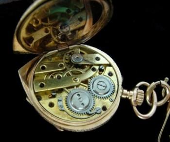Ladies' 1925 Gold and Enamel Pendant Watch