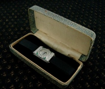 Ladies' 1918 Stona Platinum Cocktail Watch with Diamonds, Emeralds
