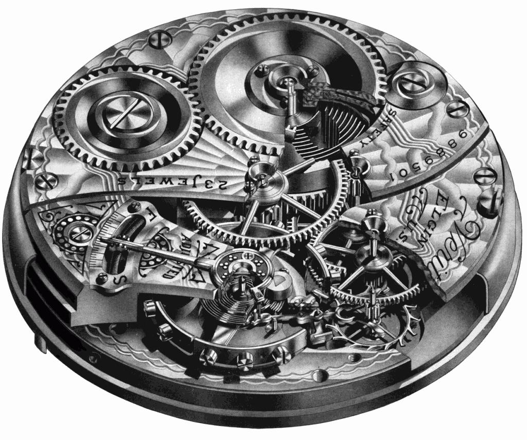 Illustration Of Elgin Pocket Watch Strickland Vintage